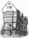 CHANCERY LANE: House, c1550, antique print, 1845